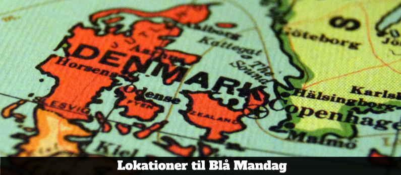 Lokationer til Blå Mandag - Opdelt i Regioner i Danmark